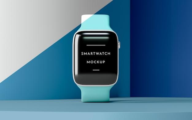 Composição com smartwatch moderno com maquete de tela