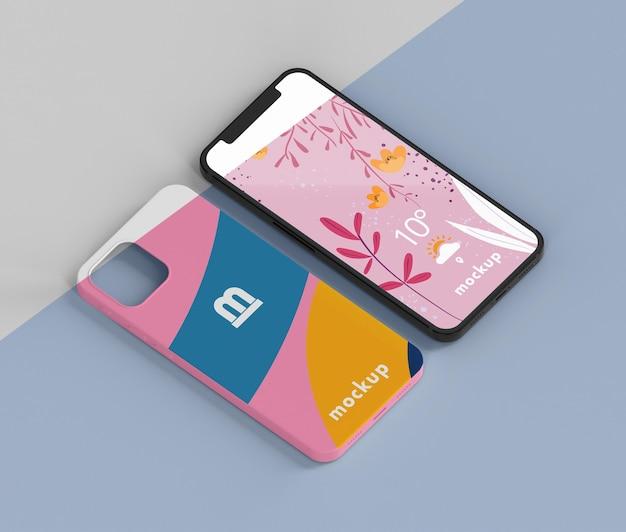 Composição criativa de maquete de capa de telefone Psd grátis