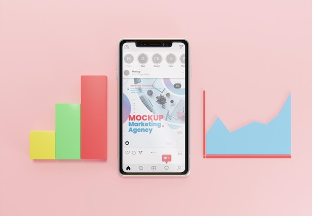 Composição criativa de negócios com maquete de smartphone
