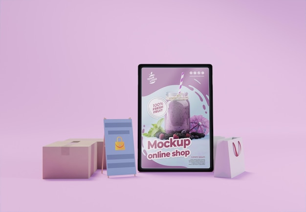 Composição criativa de negócios com maquete de tablet