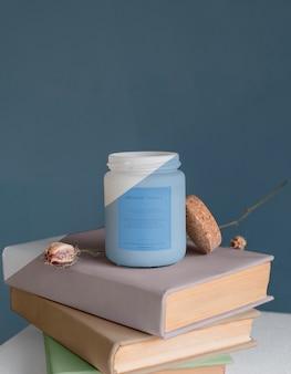 Composição da embalagem da vela maquete Psd grátis