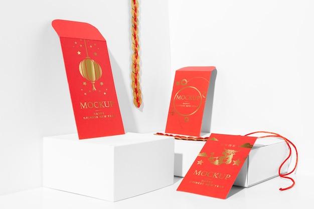 Composição da maquete de elementos do ano novo chinês