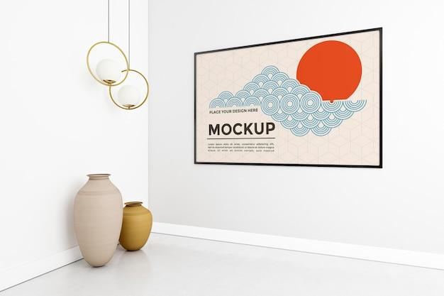 Composição da sala de estar com maquete do quadro