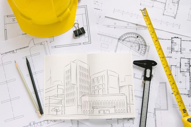 Composição de arquitetura com maquete de papel