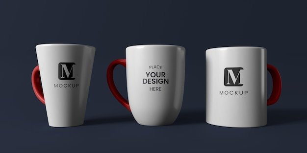 Composição de canecas de café mínimas