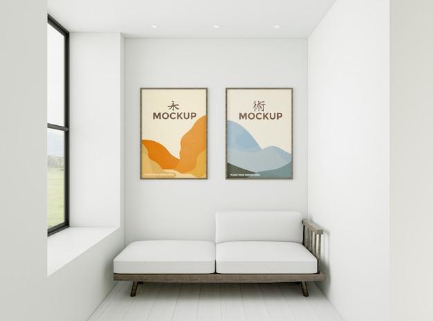 Composição de casa com maquete de quadros