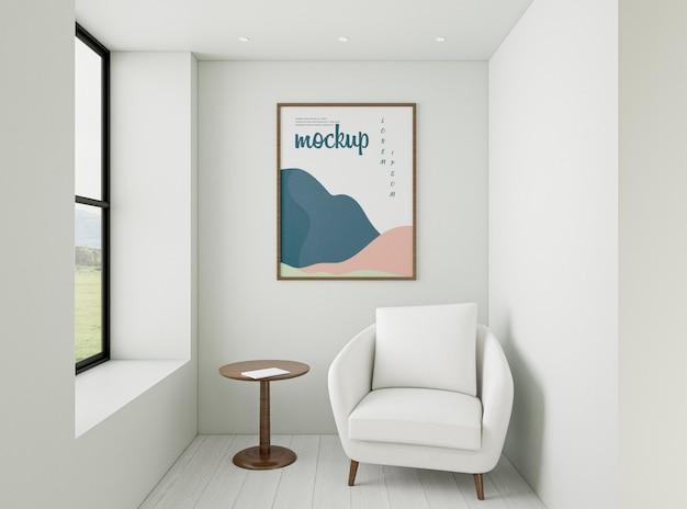 Composição de casa minimalista com maquete do quadro