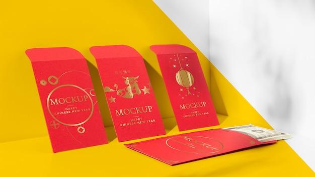 Composição de elementos de maquete isométrica do ano novo chinês