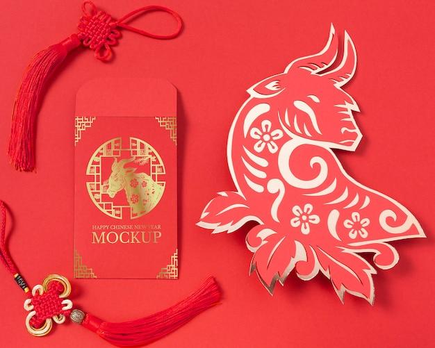 Composição de elementos do ano novo chinês