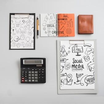 Composição, de, escritório, elementos