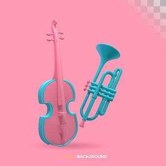 Composição de instrumentos musicais clássicos. ilustração 3d