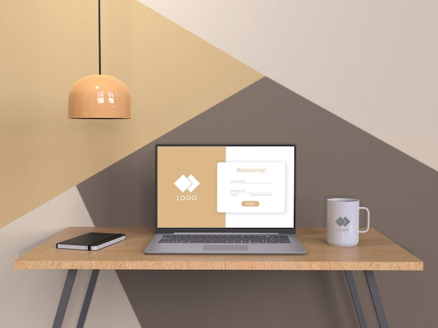 Composição de maquete de laptop