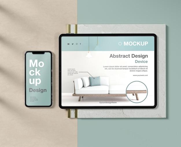 Composição de maquete de smartphone e tablet