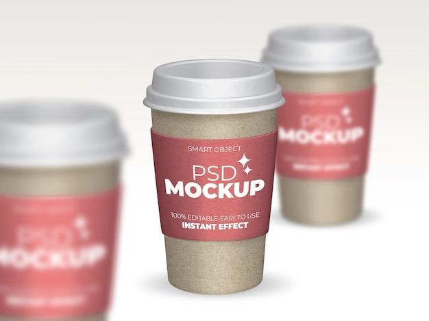 Composição de maquete de xícaras de café