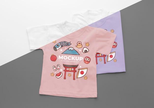 Composição de mock-up de camiseta japonesa plana