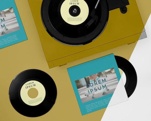 Composição de mock-up de discos de vinil planos