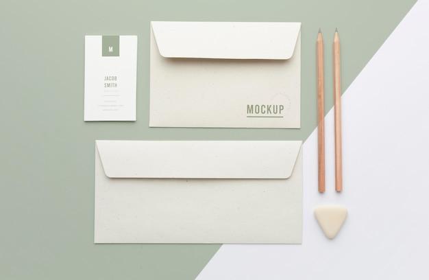 Composição de mock-up de papelaria moderna