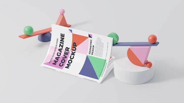 Composição de mock-up de revista minimalista