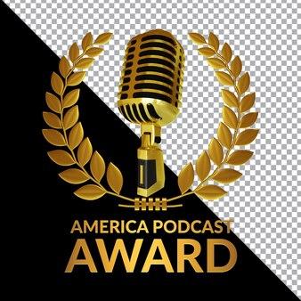 Composição de renderização 3d do america podcast award isolada