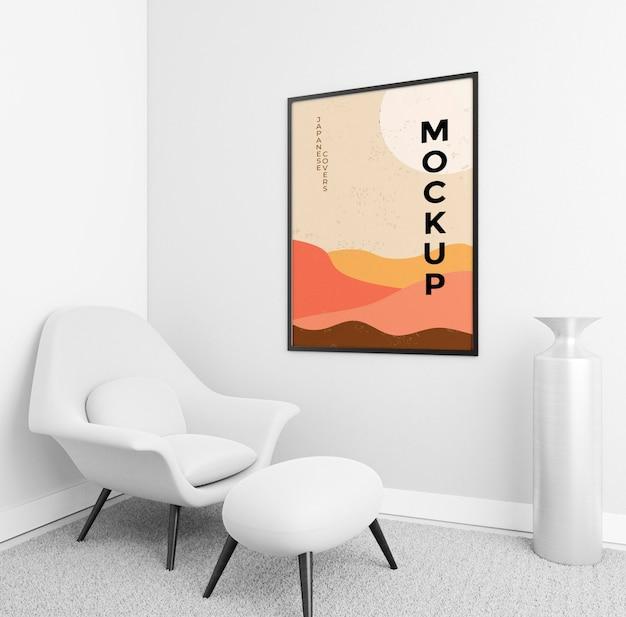 Composição de sala de estar vista frontal com maquete do quadro
