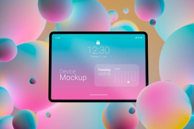Composição de tablet de mock-up com elementos dinâmicos líquidos