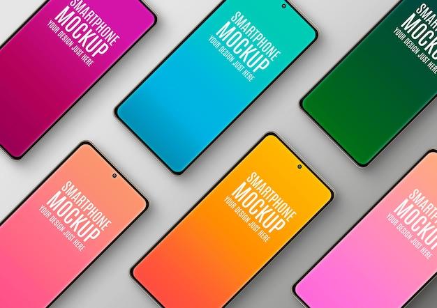 Composição diagonal de maquete de smartphones
