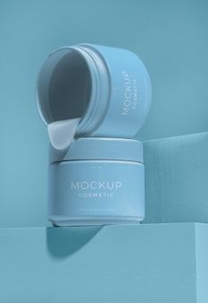 Composição do cosmético mock-up com elementos de fusão