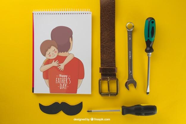 Composição do dia do pai no fundo amarelo