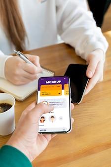 Composição do mock-up do aplicativo de pagamento móvel
