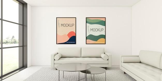 Composição interior minimalista com maquete de quadros