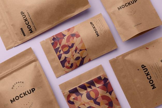 Composição minimalista de mock-up doypack