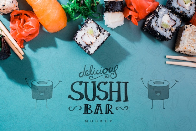 Composição para maquete de bar de sushi
