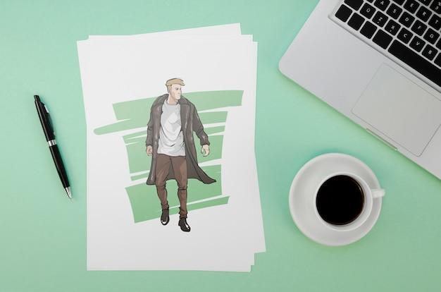Composição plana leiga com maquete de cartão sobre fundo verde