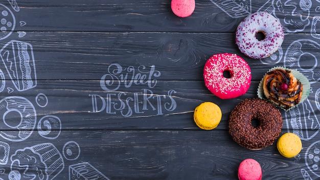 Composição plana leiga de donuts