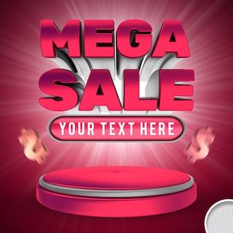 Compra editável de efeito de texto de mega venda e banner de estilo de oferta
