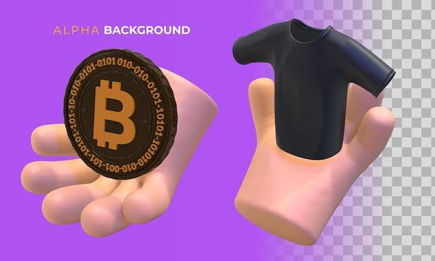 Comprando com criptomoeda. ilustração 3d