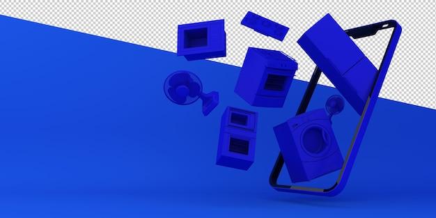 Compras on-line eletrodomésticos aplicativos móveis renderização em 3d