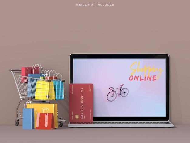 Compras online com maquetes de laptop