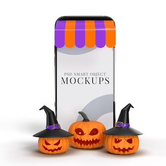 Compras online com maquetes de smartphone e elementos do conceito de halloween. projetos de marketing de conceito online