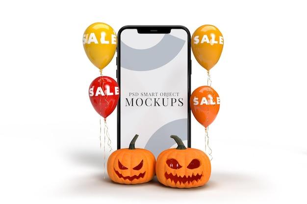 Compras online com maquetes de smartphone e elementos do conceito de halloween.
