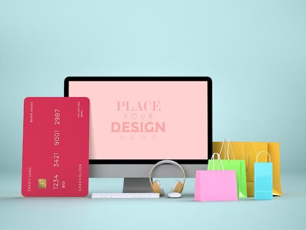 Compras online com modelo de maquete de computador e elementos de compras