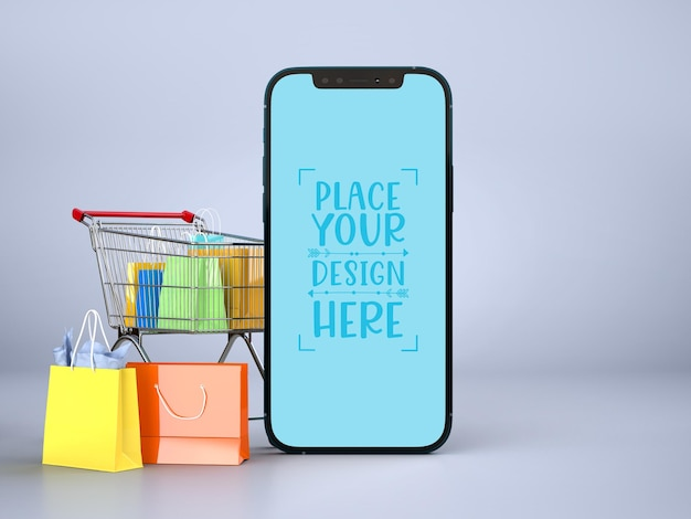 Compras online com modelo de maquete de elementos móveis e de compras