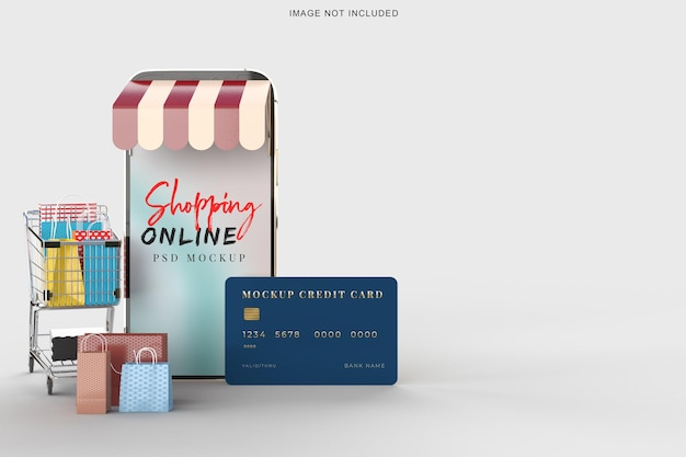 Compras online com modelo de maquete de smartphone