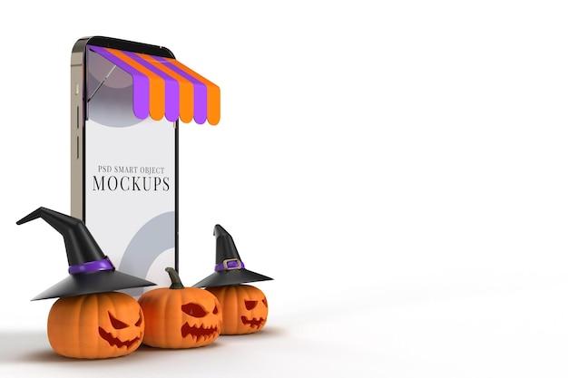 Compras online com modelo de maquetes de smartphone e elementos do conceito de halloween. projetos de marketing de conceito online. renderização 3d