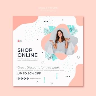 Compras online estilo flyer quadrado