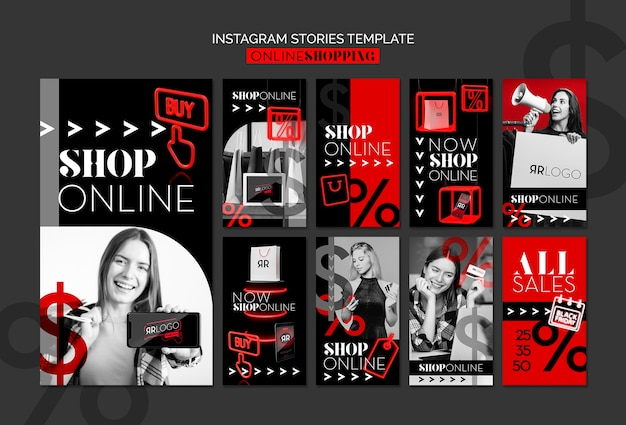 Compre agora online moda instagram stories template