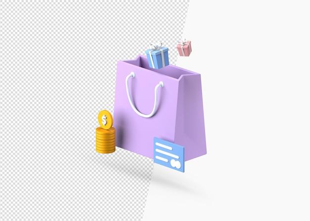 Compre um presente com renderização 3d isolada de pagamento