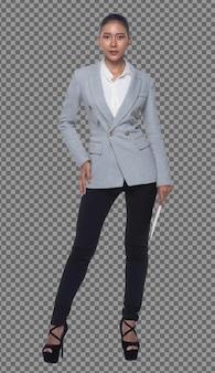 Comprimento total da mulher de negócios árabe indiano calças de terno formal cinza andar. advogado boss está de pé