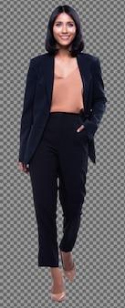 Comprimento total da mulher de negócios árabe indiano calças de terno formal preto andar. advogado chefe caminha para frente