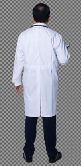 Comprimento total do homem 60s 50s asiático idoso médico usar jaleco, prontuário do paciente, suporte do estetoscópio. médico sênior masculino com vista traseira lateral traseira sobre fundo branco isolado